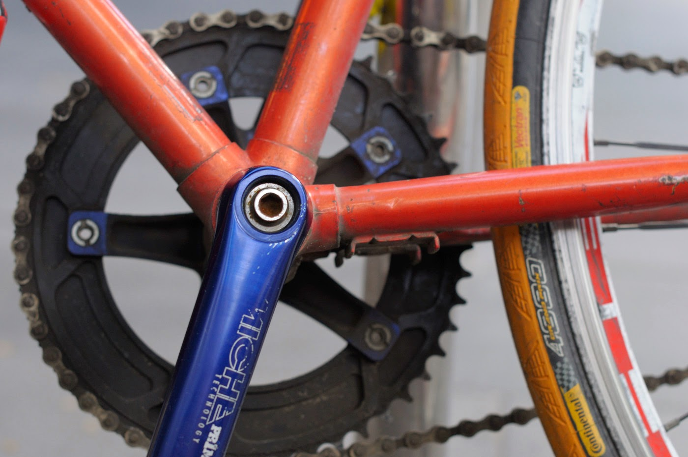 bespoke, custom, single speed, conversion, road bike, swanston st, Melbourne, Australia, decals, stickers, red, selle, miche, crank