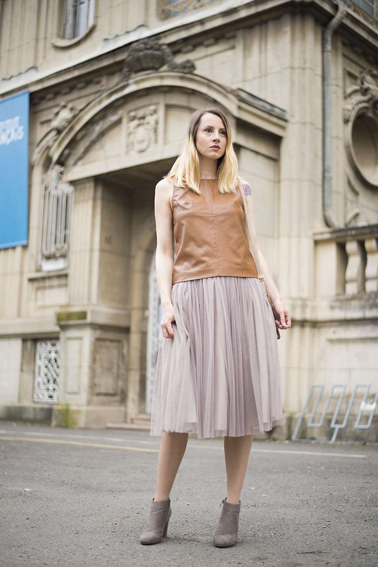 leather top tutu midi skirt
