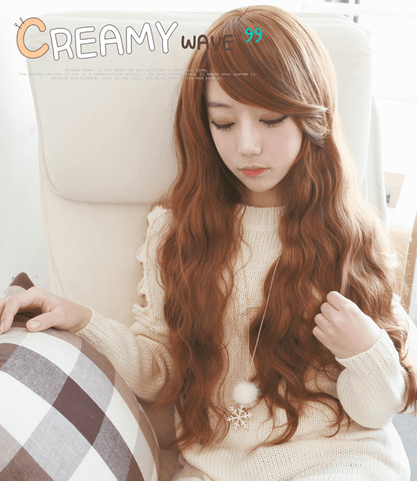 Korean Fashion Beauty Wig - Creamy Wave Color Orange Brown Model 1