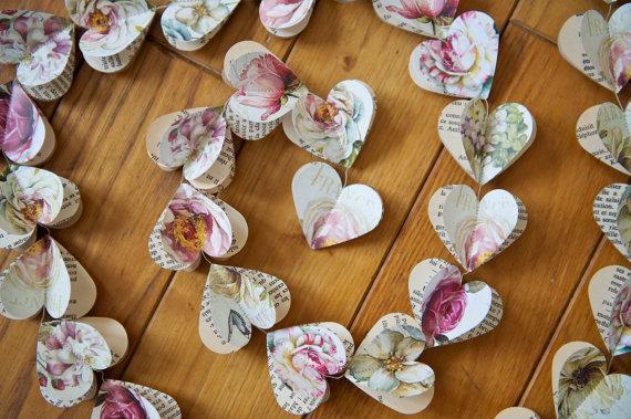 vintage paper heart garland