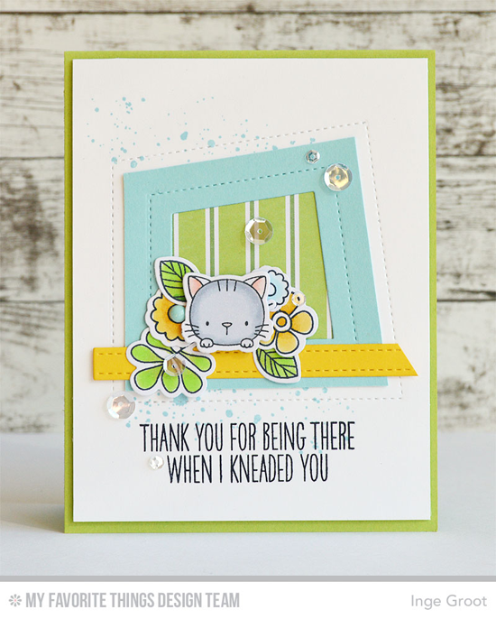 Kitten in the Window Card Inge Groot featuring the Distressed Patterns stamp set, theBuild-able Bouquet and Birdie Brown Cool Cat stamp sets and Die-namics, and the Lisa Johnson Designs Peek-a-Boo Wonky Windows and Blueprints 27 Die-namics #mftstamps