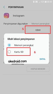 Ubah lokasi penyimpanan yang digunakan di Android Nougat