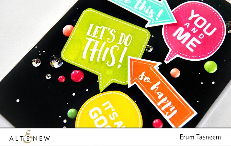 Altenew Point It Out stamp set | Speech Bubbles stamp set. Card byErum Tasneem - @pr0digy0