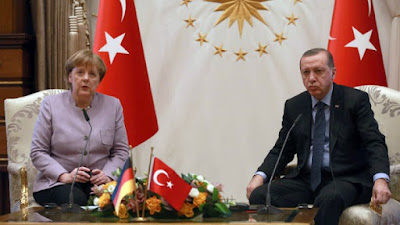 Germany's Angela Merkel with Turkey's Recep Tayyip Erdogan