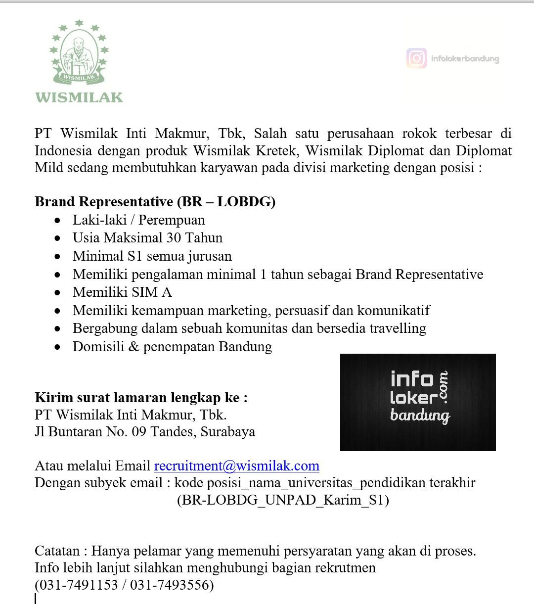 Lowongan Kerja Brand Representative PT Wismilak Inti Makmur, Tbk Bandung Maret 2017