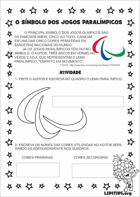 Paralimpíadas Atividade com Símbolo Paralímpico sobre Cores Primárias e Secundárias