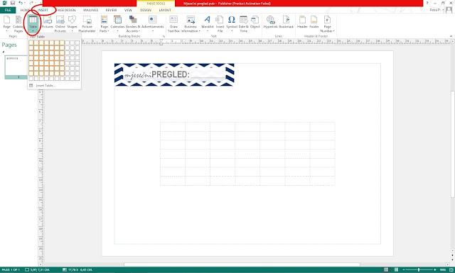 DIY predložak za planer - Umetanje tablice