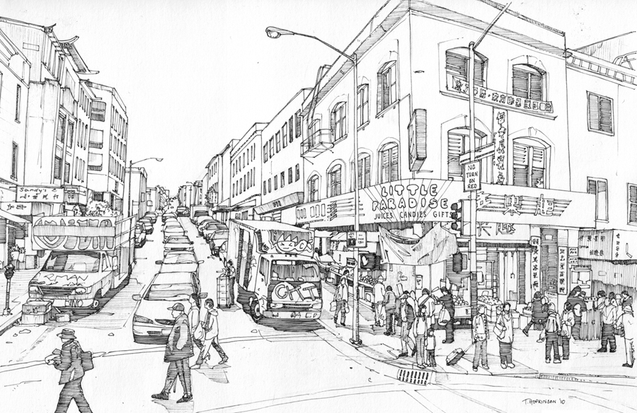 12-Stockton-Street-San-Francisco-Tom-Hopkinson-Drawings-of-our-Lives-Depicted-in-Urban-Sketches-www-designstack-co