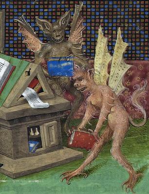 Illuminated demons carrying books
