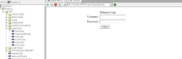 login page with PHP