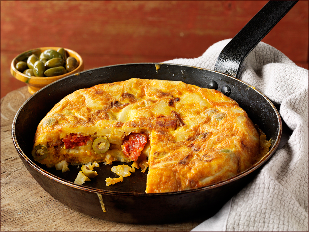 Spanish Tortilla with Olives and Chorizo