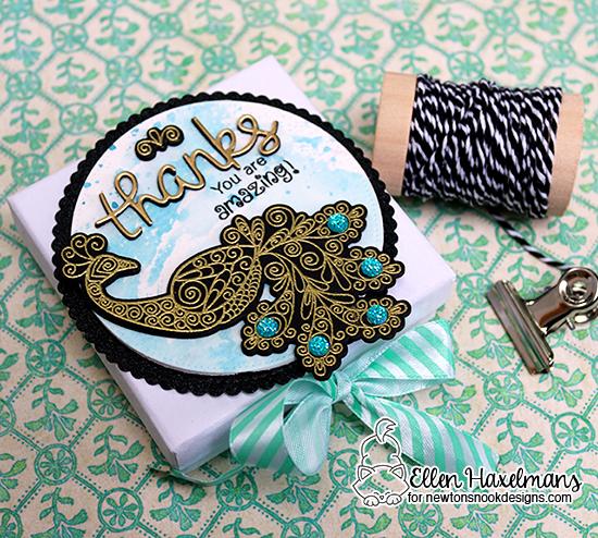 Peacock gift box by Ellen Haxelmans | Beautiful Plumage Stamp set by Newton's Nook Designs #newtonsnook