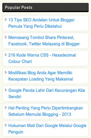 Membuat Widget Popular Post Blogger Agar Menjadi Lebih Menarik
