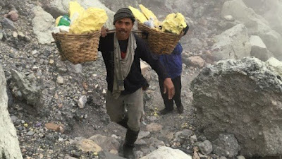 the sulfure miner bring up weight of sulfure around 65 kg at ijen volcano