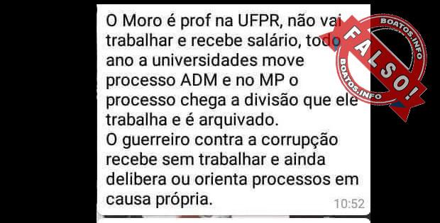 Sérgio Moro é Professor Fantasma na UFPR:  Boato Falso - Mentira