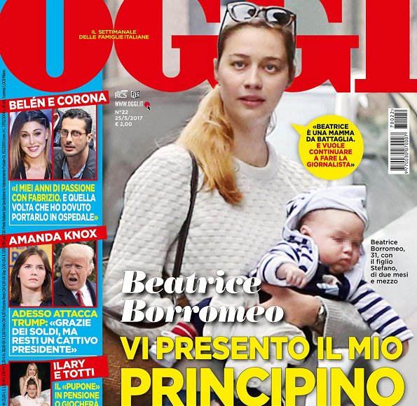 Beatrice Borromeo and her son Stefano Ercole Carlo were on the cover of this week's issue of Oggi magazine