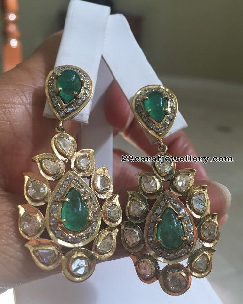 Polki Diamond Emerald Trendy Earrings