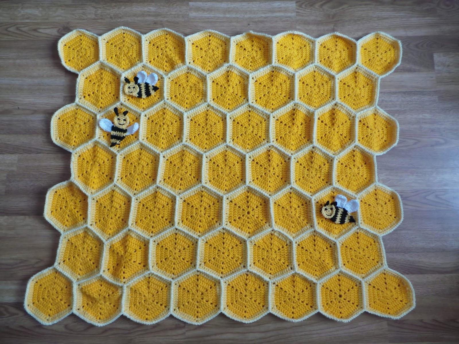 Crochet Pattern Bee Happy Honeycomb Baby Blanket