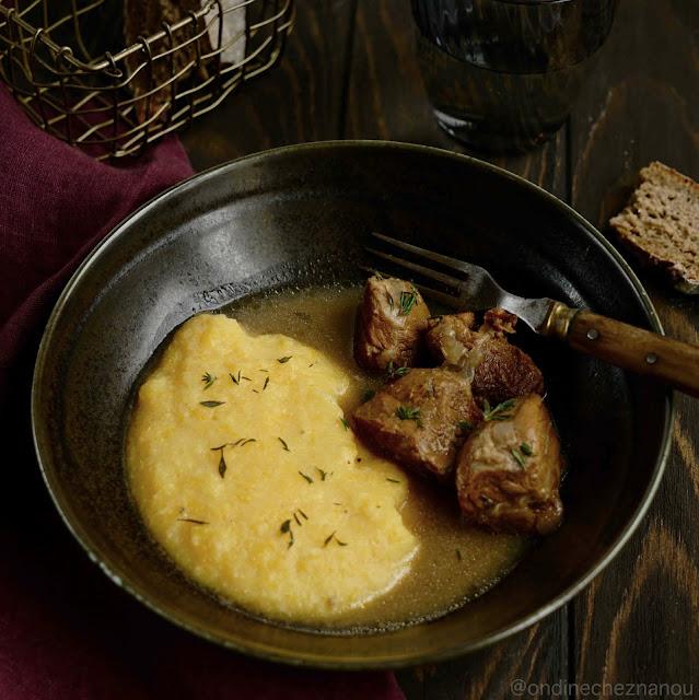 plat réconfortant , petit prix , joues de porc , cidre doux , plat familial , polenta , butternut