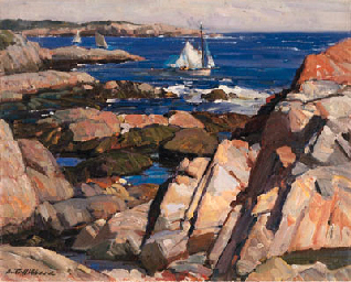 Aldro T Hibbard, and many of the Rockport school of painting are characterised by a square brush technique