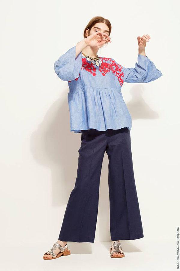 Moda 2018: Blusas con volados Carmela Achaval primavera verano 2018.