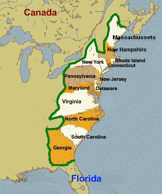 Carta storica delle tredici colonie inglesi