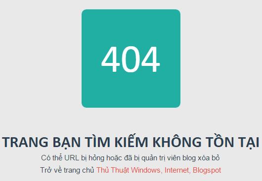 Hướng dẫn tạo trang 404 thân thiện cho blogger/blogspot