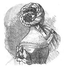 Twisted chignon in Peterson's, 1856