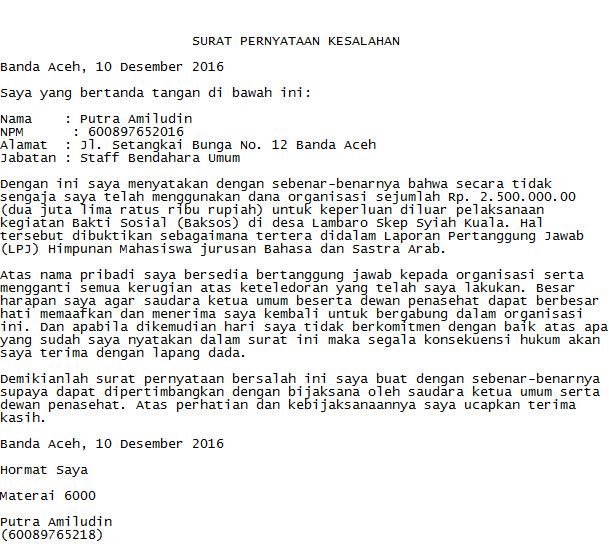 Contoh Surat Pernyataan Kesalahan Kerja Berita Jawa Barat