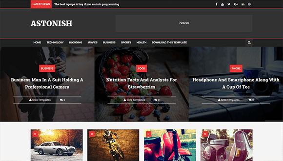 Astonish magazine free blogger template