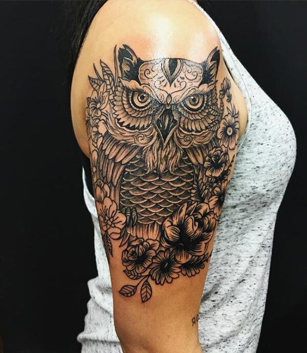 desenli baykuş dövmesi