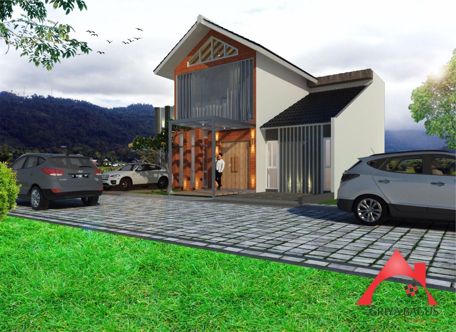 desain eksterior rumah tropis 2 lantai di yogyakarta