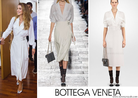 Queen Rania wore BOTTEGA VENETA silk shirt and Wool-crepe skirt