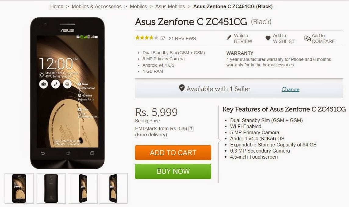 ASUS Zenfone C - ZC451CG Price Features Review