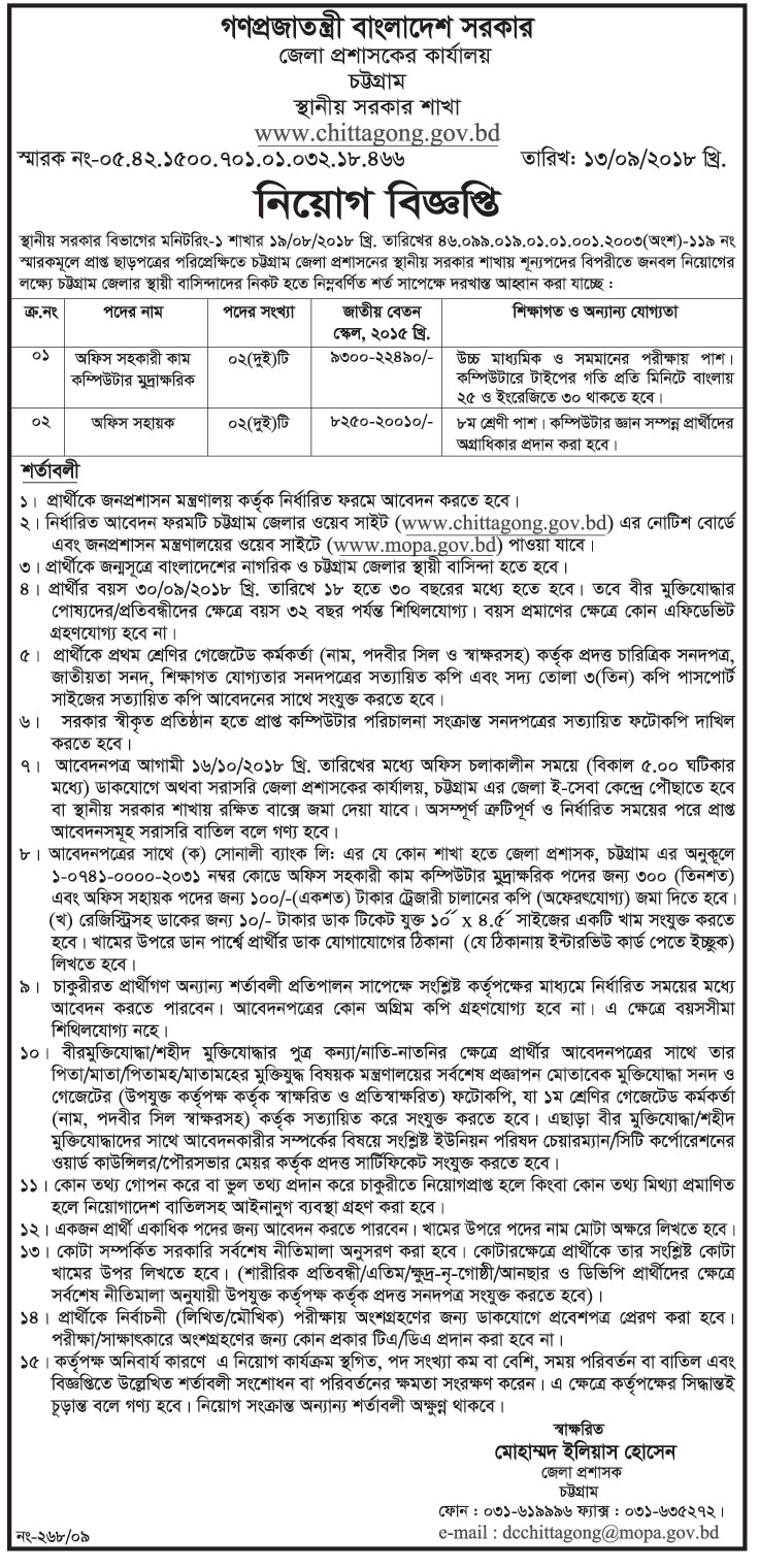 Chattogram District Job Circular 2018