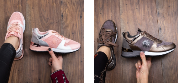 Pantofi sport ieftini frumosi de calitate gri, roz