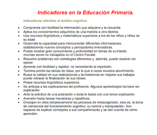 ALTAS CAPACIDADES. ESTRATEGIAS EN EL AULA E INDICADORES POR POR ETAPAS.