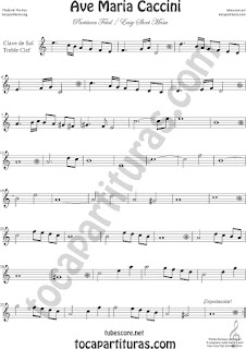 Treble Clef for Flute, Recorder, Violin, Oboe, Voice... Easy Sheet Music Ave Maria by Caccini  Classical Music Scores Easy Sheet Music Treble Clef Music Scores