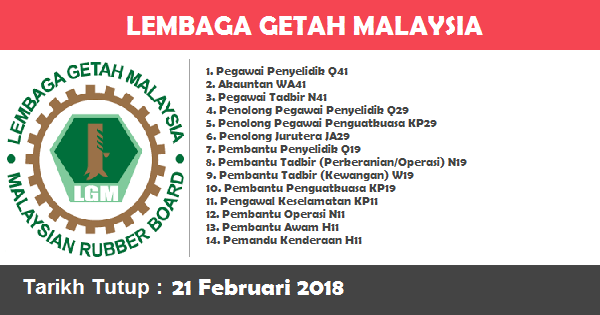 Jawatan Kosong di Lembaga Getah Malaysia