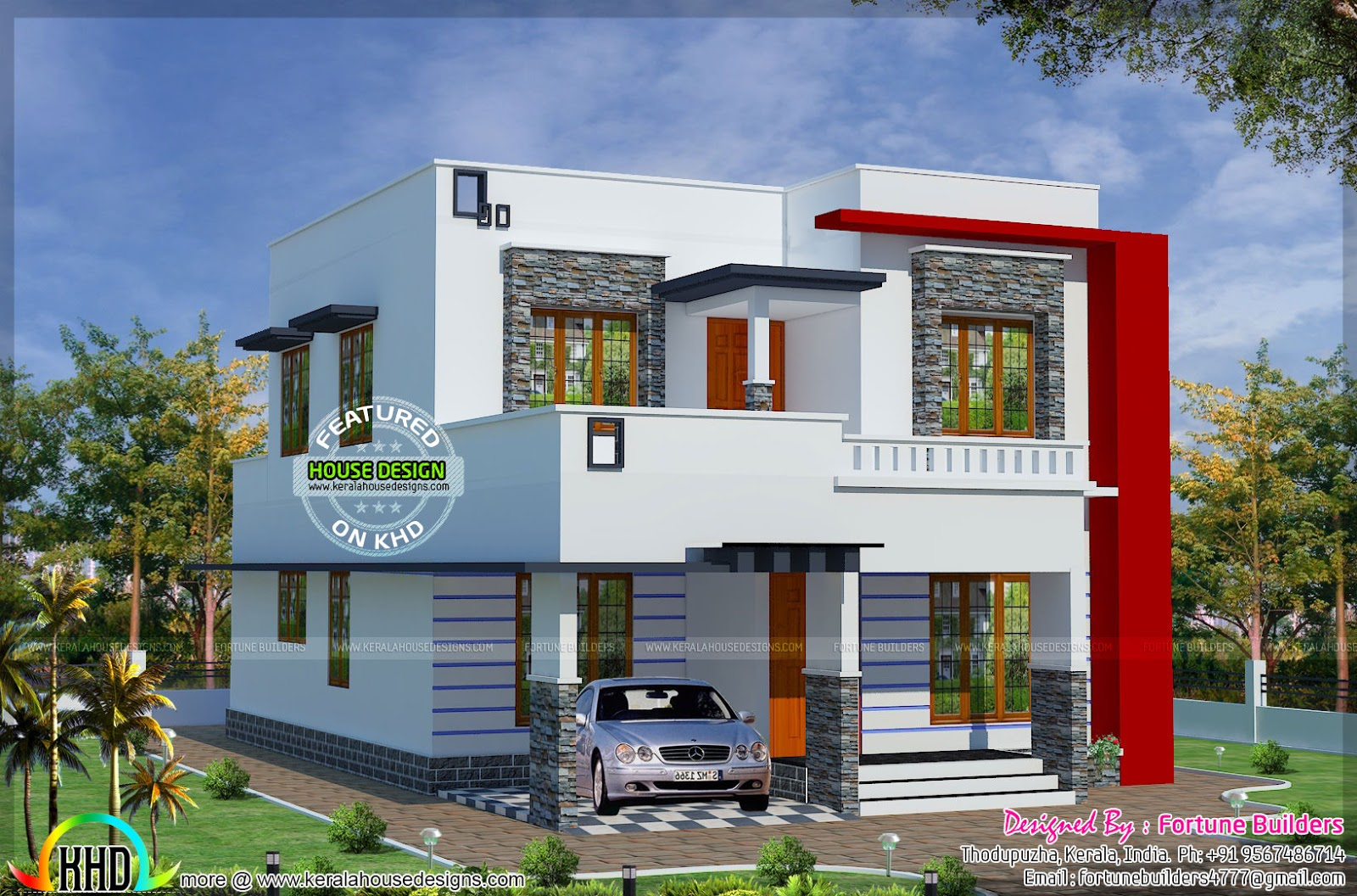 1690 sq ft low budget modern home kerala home design and for Low cost home design