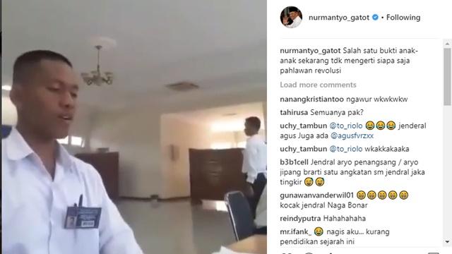 Gatot Unggah Video Pemuda Ngawur Sebut Nama Pahlawan Revolusi, Ada Jenderal Aryo Penangsang
