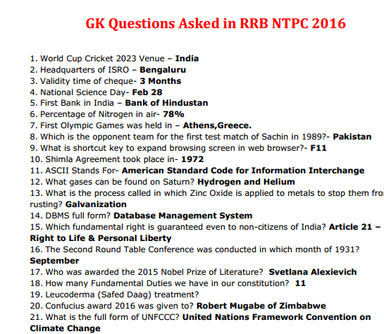 Rrb Gk Questions Pdf