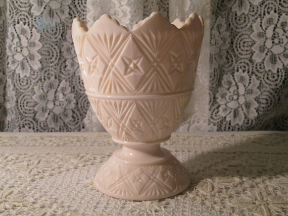 pink milk glass vase