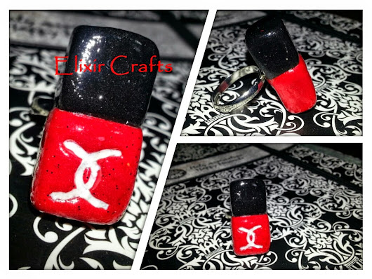 "Polymer Clay Ring Nail Varnish Red ""Chanel"""