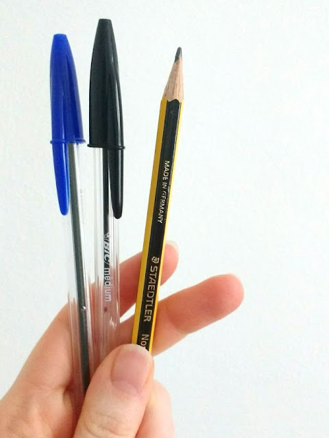 Bic Cristal Biros and Staedtler Noris Pencil