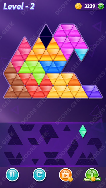 Block! Triangle Puzzle 12 Mania Level 2 Solution, Cheats, Walkthrough for Android, iPhone, iPad and iPod
