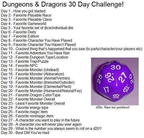 30 Days D&D Challenge - Liste der Herausforderungen