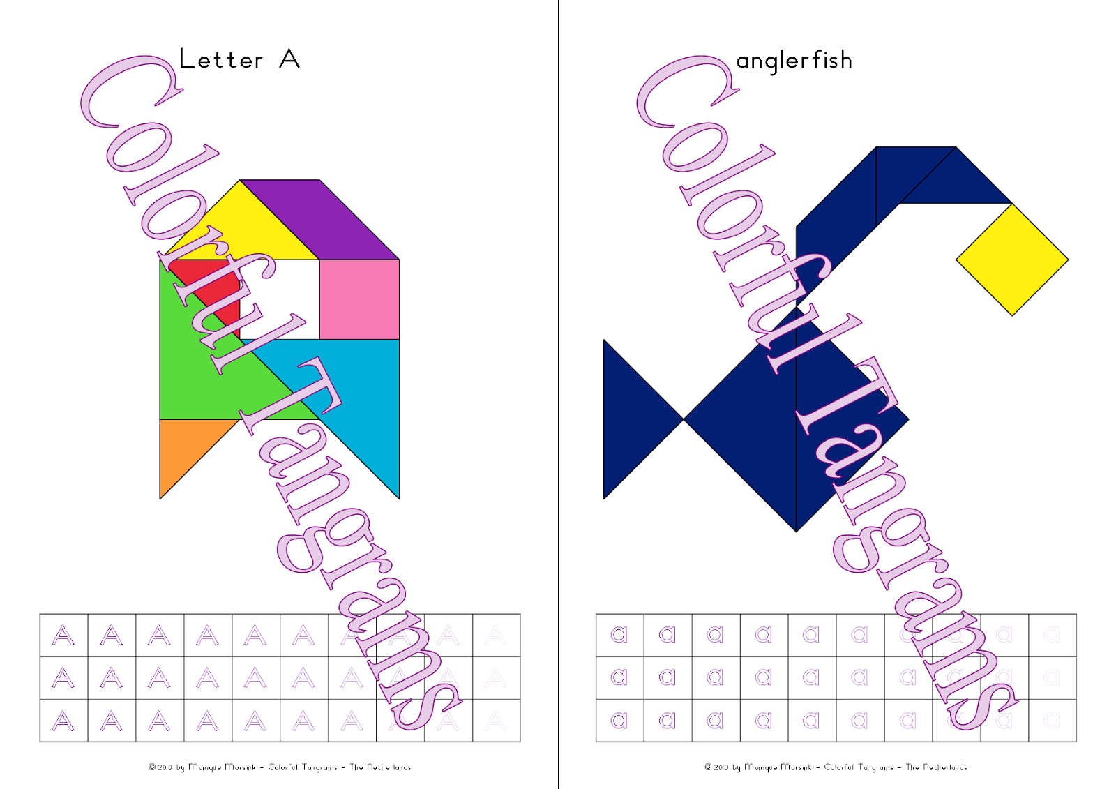 Colorful Tangrams Animal Alphabet