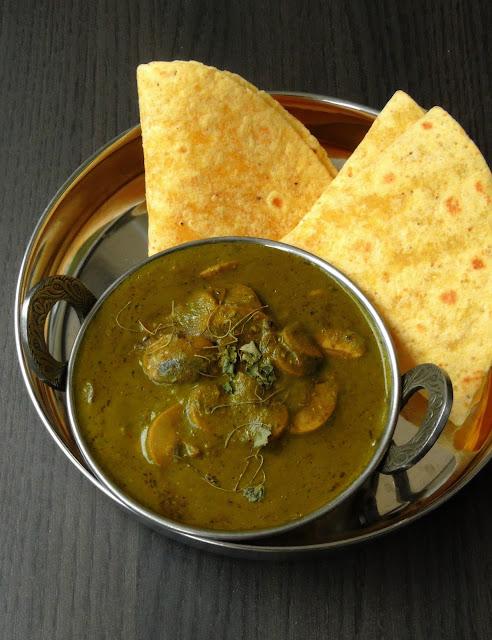 Kashmiri Style Mushroom in Spinach Sauce