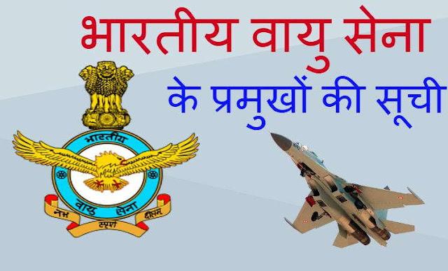 भारतीय वायु सेना के प्रमुुखोंं की सूची - list of the heads of the Indian Air Force